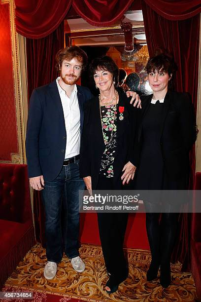 Actress Anny Duperey her son Actor Gael Giraudeau and Anne Auffret attend as the French actress Anny Duperey is decorated with Officier de la Legion...