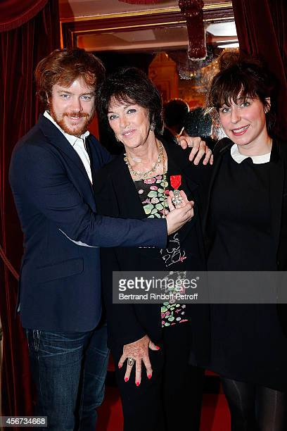 Actress Anny Duperey her son Actor Gael Giraudeau and Anne Auffret attend as the French actress Anny Duperey is decorated with 'Officier de la Legion...