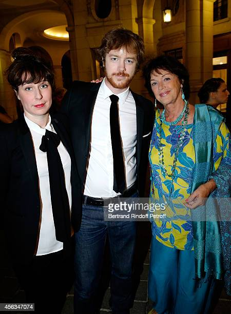Actress Anny Duperey her son Gael Girodeau and Anne Auffret attend the tribute to Gisele Casadesus celebrating her 100th anniversary at Theatre...