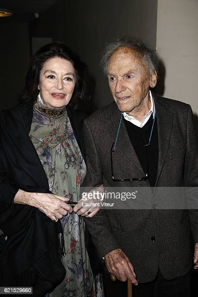 Actress Anouk Aime and Actor JeanLouis Trintignant attend Un Homme et Une Femme Screening for Its 50th Anniversary at l'Arlequin on November 6 2016...