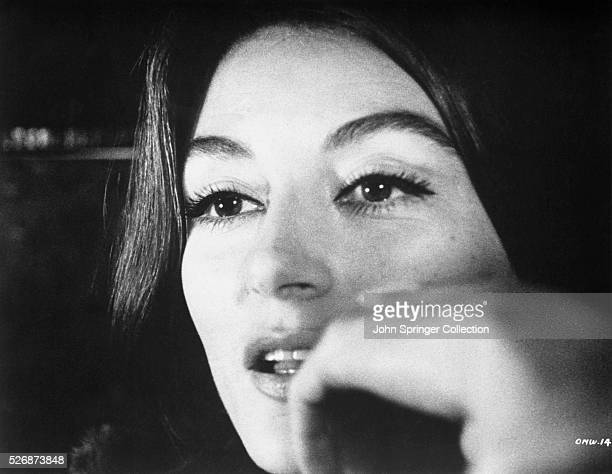 Actress Anouk Aimee as Anne Gauthier in the 1966 French romantic drama Un homme et une femme .