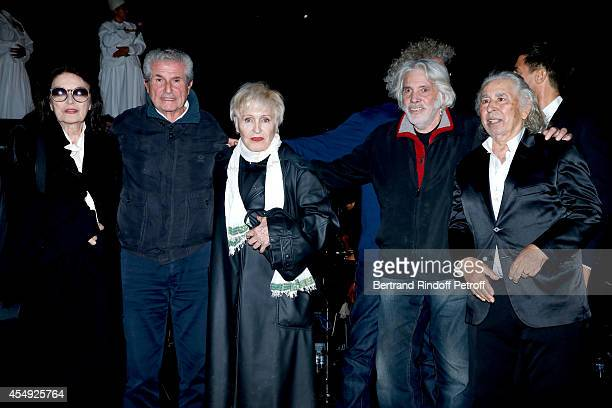 Actress Anouk Aimee Director Claude Lelouch Singer Nicole Croisille Singer Pierre barouh and Composer of film music Francis Lai on stage at the end...