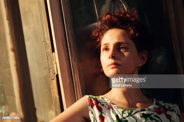 Actress Anouk Grinberg at a rehearsal of the play Chaos Debout during the Festival d'Avignon