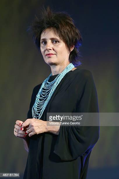 Actress Anouk Grinberg attends Le Dernier Passage premiere on August 6 2015 in Locarno Switzerland