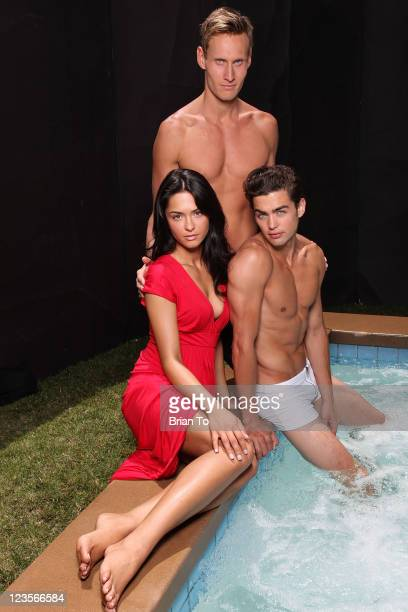 Actress Antoinette Nikprelaj from 'Pirates of the Caribbean On Stranger Tides' trainer Luke Hines and model Sterling Folkestad pose at private photo...