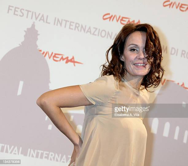Actress Antonella Ponziani attends the 'La Scuola E Finita' photocall during The 5th International Rome Film Festival at Auditorium Parco Della...