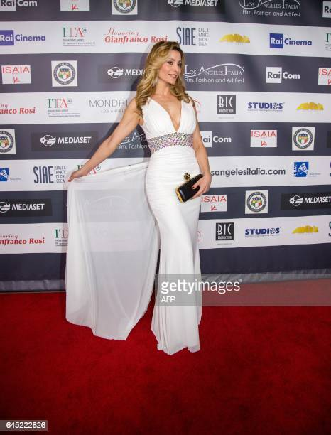 Actress Antonella Salvucci poses on the red carpet at the finale of the 12th Los Angeles Italia Film Festival in Los Angeles California on February...