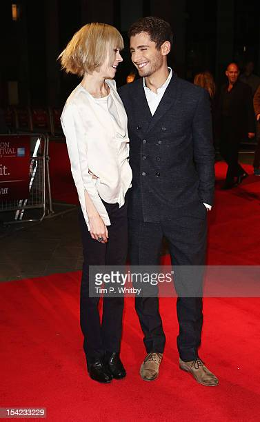 Actress Antonia CampbellHughes and actor Julian Morris attend the Premiere of 'Kelly Victor' during the 56th BFI London Film Festival at Odeon West...