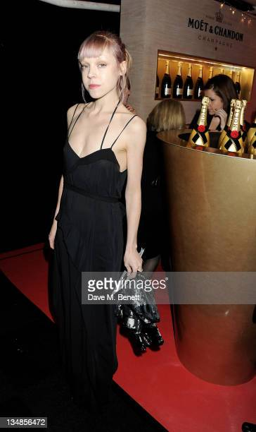 Actress Antonia CampbellHughes arrives at the Moet British Independent Film Awards 2011 at Old Billingsgate Market on December 4 2011 in London...