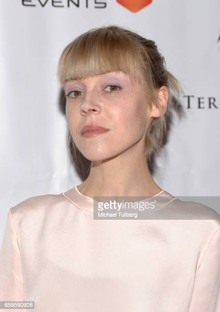 Actress Antonia CampbellHughes attends Fathom Events and Terra Mater Film Studios' Mindgamers One Thousand Minds Connected Live premiere event at...