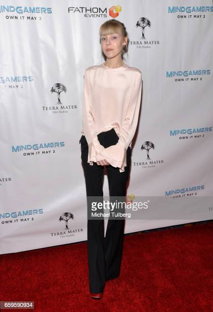 Actress Antonia CampbellHughes attends Fathom Events and Terra Mater Film Studios' 'Mindgamers One Thousand Minds Connected Live' premiere event at...