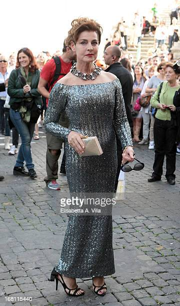 Actress Antonia Dell'Atte arrives at the Valeria Marini and Giovanni Cottone wedding at Ara Coeli on May 5, 2013 in Rome, Italy.