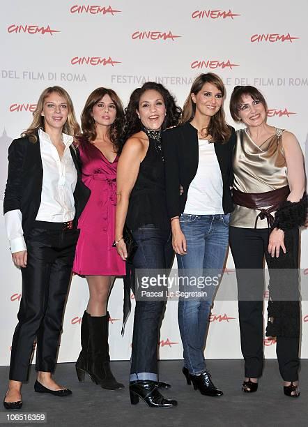 Actress Antonia Liskova Valentina D'agostino Farida Rahouadj Paola Cortellesi and Daniela Giordano attend the Le Cose Che Restano Photocall during...