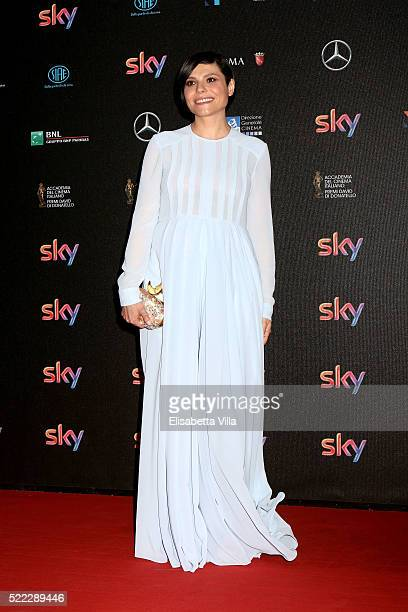 Actress Antonia Truppo arrives at the 60 David di Donatello ceremony on April 18 2016 in Rome Italy