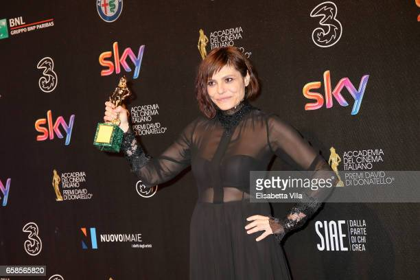 Actress Antonia Truppo poses with her Best Supporting Actress award during the 61 David Di Donatello ceremony on March 27 2017 in Rome Italy