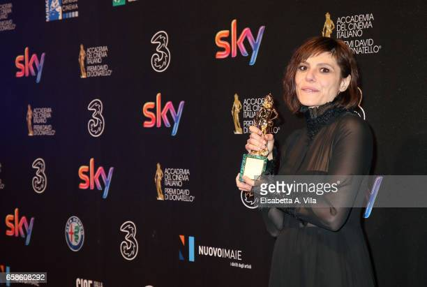 Actress Antonia Truppo poses with her Best Supporting Actress award at the end of the 61 David Di Donatello ceremony on March 27 2017 in Rome Italy