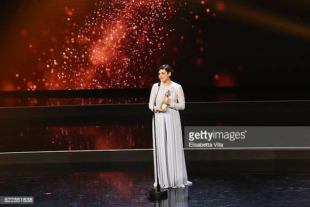 Actress Antonia Truppo receives the Best Supporting Actress award during the 60 David Di Donatello awards ceremony on April 18 2016 in Rome Italy