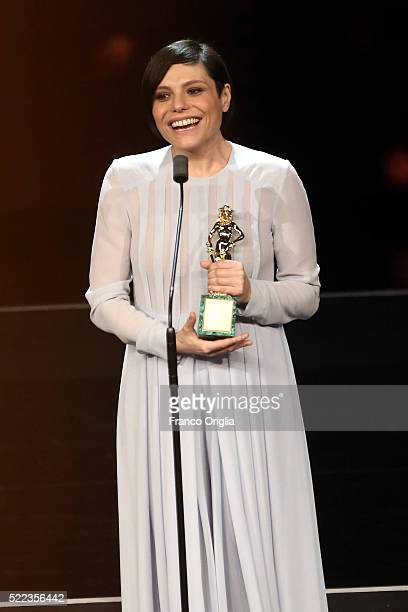 Actress Antonia Truppo receives the Best Supporting Actress award during the 60 David di Donatello Ceremony on April 18 2016 in Rome Italy