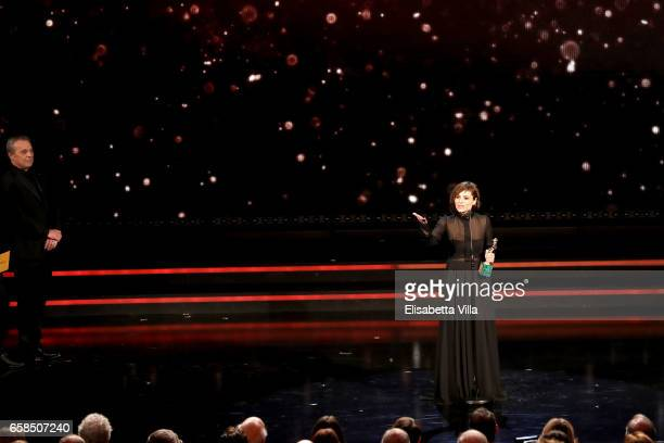Actress Antonia Truppo receives the Best Supporting Actress award during the 61 David Di Donatello ceremony on March 27 2017 in Rome Italy