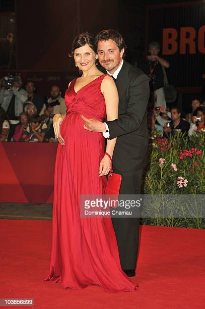 Actress Antonia Zegers and director Pablo Larrain attend the 'Post Mortem' premiere at the Palazzo del Cinema during the 67th Venice International...