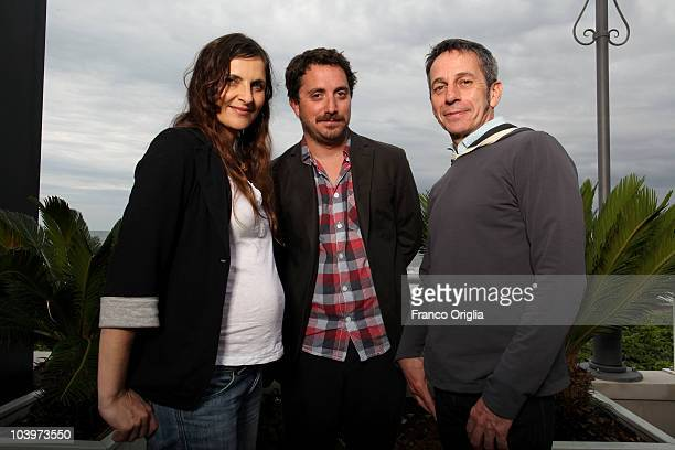 Actress Antonia Zegers director Pablo Larrain and actor Alfredo Castro pose at the 'Post Mortem' portrait session during the 67th Venice Film...