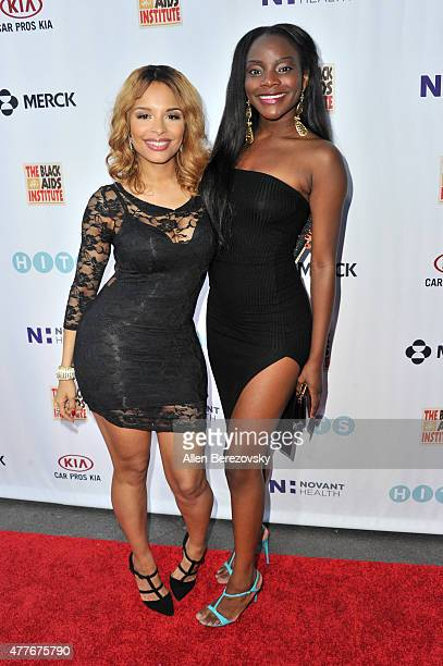 Actress Antonique Smith and singer Adanna Duru attend the Black AIDS Institute 2015 Heroes in the Struggle Reception Gala and Awards Ceremony at...