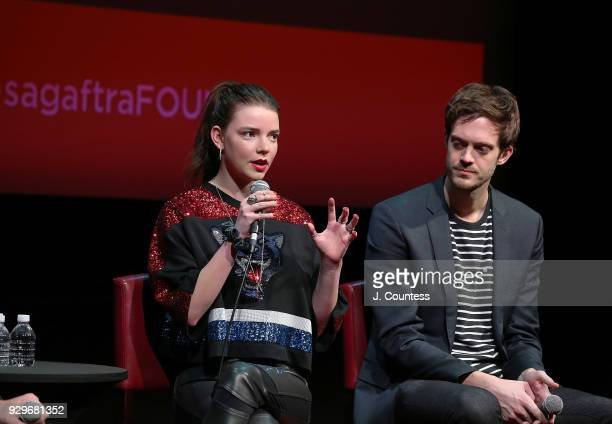 Actress Anya TaylorJoy and director Cory Finley speak during SAGAFTRA Foundation Conversations 'Thoroughbreds' at The Robin Williams Center on March...