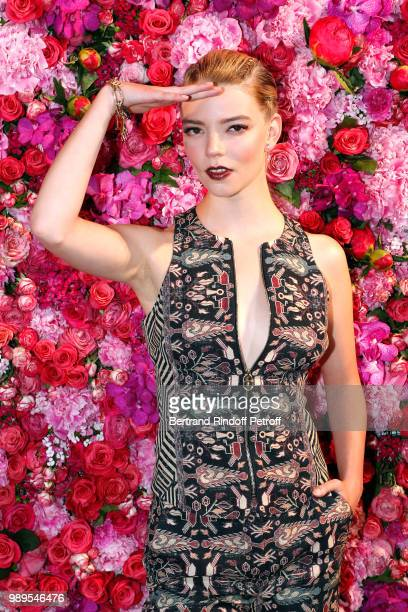 Actress Anya TaylorJoy attends the Schiaparelli Haute Couture Fall Winter 2018/2019 Photocall as part of Paris Fashion Week on July 2 2018 in Paris...