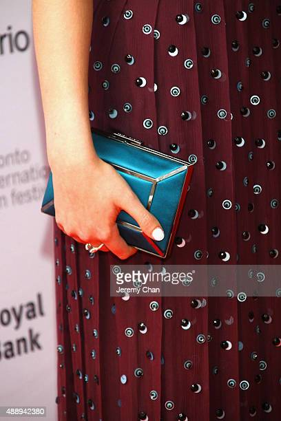Actress Anya TaylorJoy clutch detail attends 'The Witch' premiere during the 2015 Toronto International Film Festival held at Ryerson Theatre on...