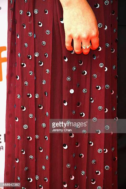 Actress Anya TaylorJoy dress detail attends 'The Witch' premiere during the 2015 Toronto International Film Festival held at Ryerson Theatre on...