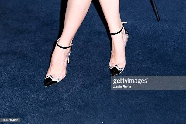 Actress Anya TaylorJoy shoe detail attends the premiere of A24's The Witch at ArcLight Cinemas on February 11 2016 in Hollywood California