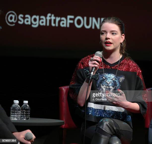 Actress Anya TaylorJoy speaks during SAGAFTRA Foundation Conversations 'Thoroughbreds' at The Robin Williams Center on March 8 2018 in New York City