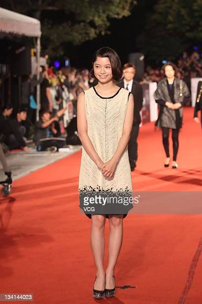 Actress Aoi Miyazaki arrives at the red carpet of the 48th Golden Horse Awards at Performance Hall of Cultural Affairs Bureau on November 26 2011 in...