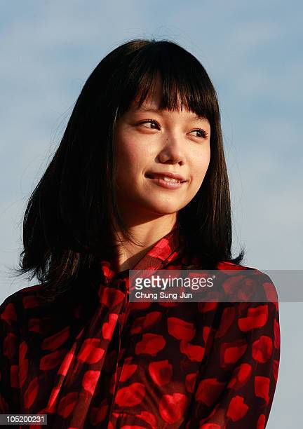 Actress Aoi Miyazaki attends a Audience Meet and Greet 'Here Comes the Bride My Mom' at the Haeundae beach during the 15th Pusan International Film...