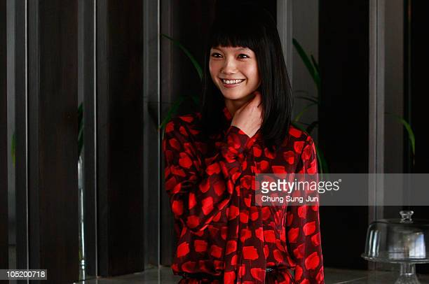 Actress Aoi Miyazaki pose for media at the Grand Hotel during the 15th Pusan International Film Festival on October 12 2010 in Busan South Korea The...