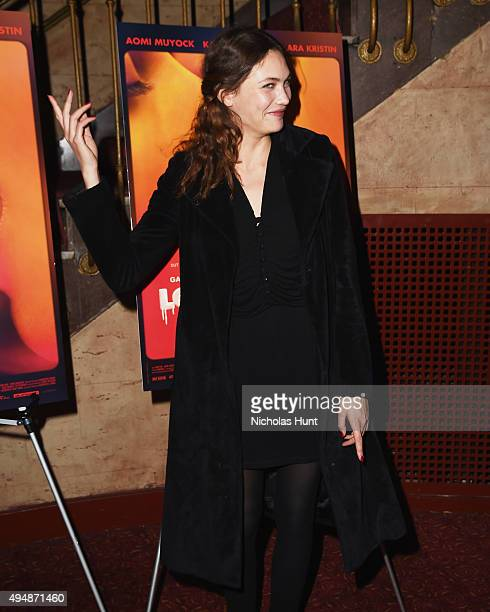 Actress Aomi Muyock attends the 'Love' New York City Premiere at Village East Cinema on October 29 2015 in New York City