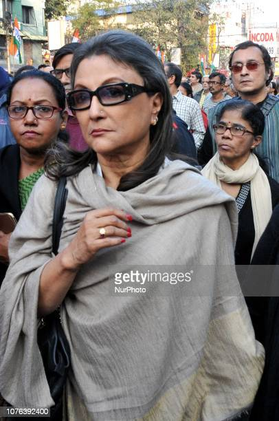 Actress Aparna Sen at the Indian Film Lover and celebrities take part in the funeral procession of Legendary Bengali filmmaker Mrinal SenHe was best...