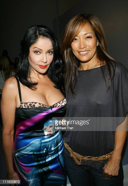 Actress Apollonia Kotero and tv personality Carrie Ann Inaba front row at Ashley Paige Fall 2008 collection during Mercedes Benz LA Fashion Week held...