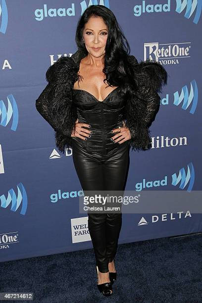 Actress Apollonia Kotero arrives at the 26th annual GLAAD media awards at The Beverly Hilton Hotel on March 21 2015 in Beverly Hills California