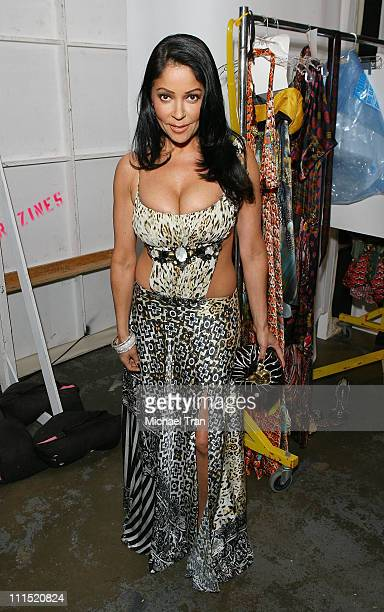 Actress Apollonia Kotero backstage at Falguni and Shane Peacock Fall 2008 collection during Mercedes Benz LA Fashion Week held at Smashbox Studios on...