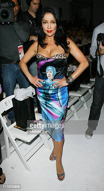 Actress Apollonia Kotero front row at Ashley Paige Fall 2008 collection during Mercedes Benz LA Fashion Week held at Smashbox Studios on March 13...