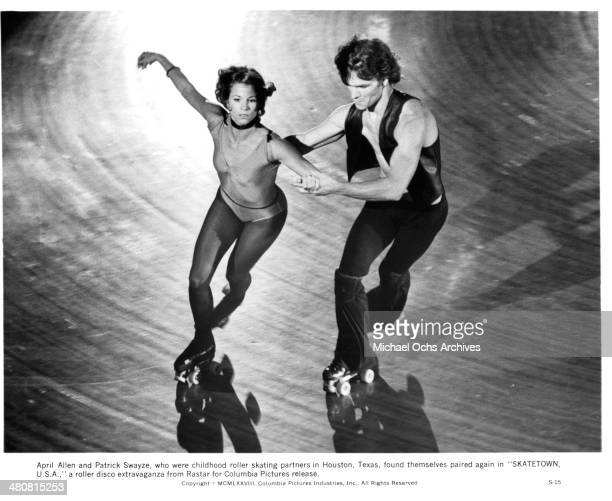 Actress April Allen and actor Patrick Swayze the movie Skatetown USA circa 1979