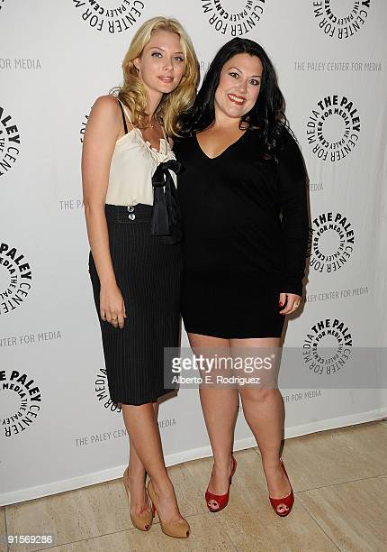 Actress April Bowlby and actress Brooke Elliott arrive at the Drop Dead Diva Season One Finale held at the Paley Center for Media on October 7 2009...