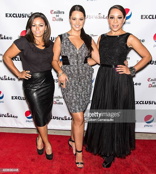 Actress April Lee Hernandez, actress Paula Garces and actress Selenis Levya attend the New York Launch party for Exclusivlee.com at Stray Kat Gallery...