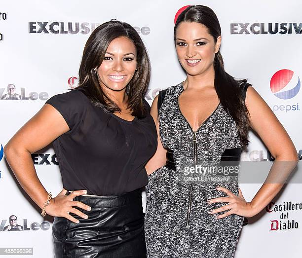 Actress April Lee Hernandez and actress Paula Garces attend the New York Launch party for Exclusivlee.com at Stray Kat Gallery on September 18, 2014...