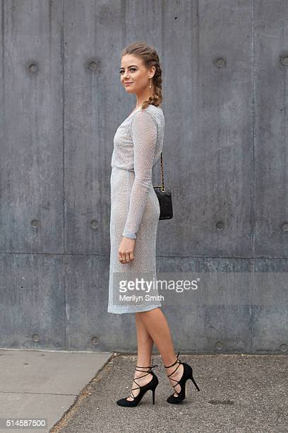 Actress April Rose Pengilly wearing a Rachel Gilbert dress Jimmy Chu shoes and Atelier jewellery during the 2016 Melbourne Fashion Festival on March...