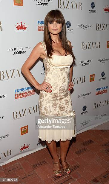 Actress Araceli Gonzalez poses at the Carnival Center for the Performing Arts during Funkshion Fashion Week Miami Beach on October 11 2006 in MIami...