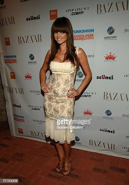 Actress Araceli Gonzalez poses at The Carnival Center for the performing Arts during Fashion Week Miami Beach on October 11 2006 in Miami Florida