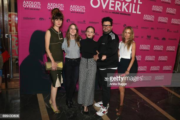 Actress Araceli Jover director Helene Hegemann actors Jasna Fritzi Bauer Oliver Polak and guest attend the AXOLOT Overkill premiere at Volksbuehne am...