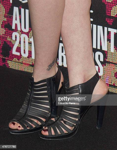 Actress Arancha Marti shoes detail attends MAC new trends party photocall at the Association of Architects on June 11 2015 in Madrid Spain